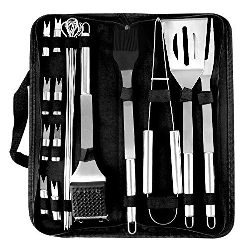 trounistro BBQ Barbecue Tool Set, 20 Pcs Stainless Steel Barbecue Accessories with Storage Bags, Complete Outdoor Barbecue Grill Utensils Set, BBQ Grilling Tools Set for Friends Family