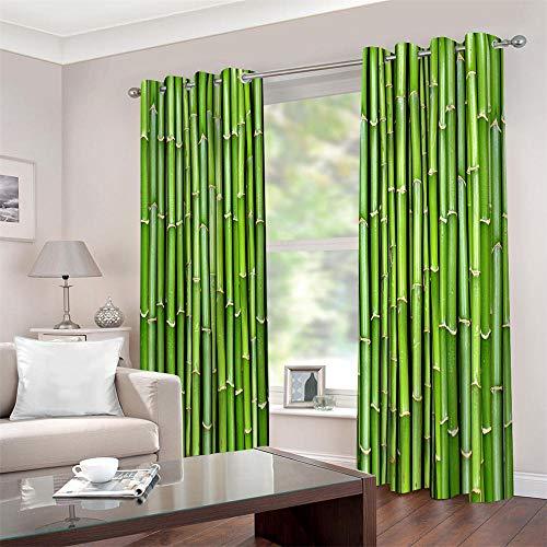 Gordijnen ondoorzichtig met ogen, 3D-bamboe thermogordijnen isolerend 2 stuks raamdecoratie voor kinderkamer, woonkamer, slaapkamer