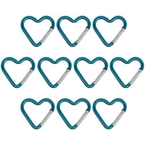 BB Sport 10er Set Materialkarabiner Karabiner Little Heart Schlüsselanhänger Karabinerhaken Zubehörkarabiner, Farbe:Turquoise