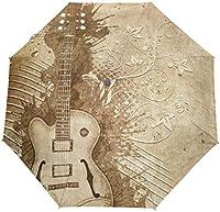 たっての熱ヴィンテージグランジ音楽ギター防風トラベル傘オートオープンクローズ3折りたたみ強力耐久性コンパクトレイン傘UVプロテクションポータブル軽量簡単持ち運び