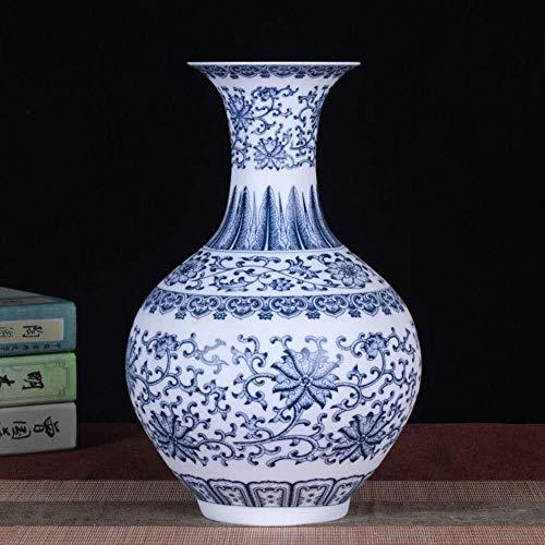 Vase Céramique décoration de Table Mat Vase en céramique à la Main Porcelaine Bleue et Blanche précieuse Collection avec Base Cadeau Grand 33 * 20 * 12cm