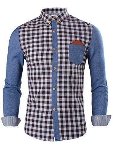 Tom's Ware Mens Trendy Slim Fit Two-toned Checkered Longsleeve Collar Shirt TWCS06-BROWN-US M