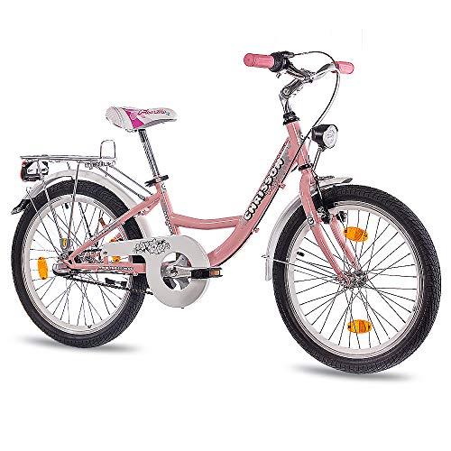 CHRISSON 20 inch kinderfiets meisjes - Relaxia 3.0 roze - meisjesfiets met 3 versnellingen Shimano Nexus naafschakeling - fiets voor kinderen tussen de 5-9 jaar en 1,15 m tot 1,40 m lichaamslengte