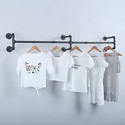 Perchero industrial para colgar ropa, soporte de pared, vintage para colgar ropa, estante para colgar ropa, estante de exhibición de ropa (negro, 71 pulgadas)