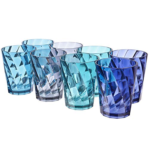 Optix 14-ounce Plastic Tumblers | set of 8 in 4 Coastal Colors