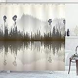 ABAKUHAUS Wald Duschvorhang, Northern Muster Natur, Waschbar & Leicht zu pflegen mit 12 Haken Hochwertiger Druck Farbfest Langhaltig, 175 x 200 cm, Creme Grau Braun