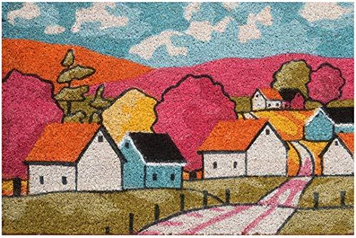 Zerbino da Esterno in Cocco con Base in PVC Dipinto a Mano Raffigurante Villaggio Rosso 60X40X2 cm. Facile da Pulire e Ultraresistente