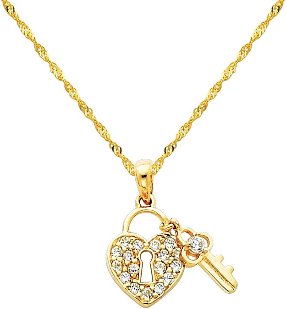 14K Yellow Gold /& Rhodium Heart Key Pendant