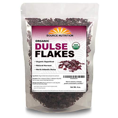Organic Dulse Flakes - Sun Dried, Wild Crafted, North Atlantic Dulse - Palmaria Palmata (4 oz)