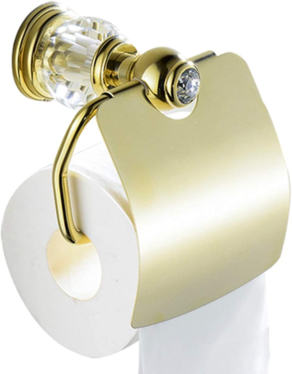 LUDSUY Luxury golden Brass& Crystal Toilet Paper Holder European Royal Wall Mounted Tissue Paper Holder Bathroom Accessories