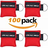 100pcs CPR Face Shield Mask Keychain Keyring Emergency Kit CPR Face Shields for First Aid or CPR Training...