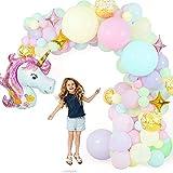 KCSds Feliz Cumpleaños Macaron Globos de la Bandera de Bricolaje Set Decoraciones del Partido con el Gigante de Unicornio Fiesta de cumpleaños de la Boda de la Hoja de decoración de Fondo Estrellas