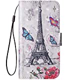 IKASEFU Compatible with Xiaomi Redmi Note 7 Pu Leather Wallet Strap Case Card Slots Shockproof Magnetic Leather Folio Flip Book Cover 3D Painted Pattern Stand Protective Case,Eiffel Tower