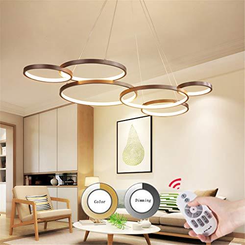 Moderne LED Pendelleuchte Dimmbar Mit Fernbedienung Hängeleuchte Pendellampe Höhenverstellbar Hängelampe Kronleuchter für Wohnzimmer Esszimmer Büro Schlafzimmer Decken Lampe 120 * 75cm 88W Six rings