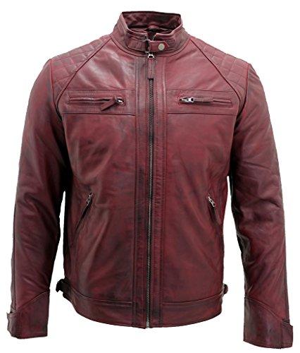 Men's Retro Burgundy Leather Racing Biker Jacket L