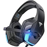 BENGOO V-4 Gaming Headset for Xbox One, PS4, PC, Controller, Noise Cancelling Over Ear Headphones with Mic, LED Light Bass Surround Soft Memory Earmuffs for Computer Laptop Mac Nintendo Switch - Black