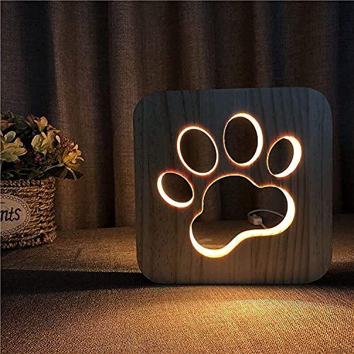 Lámpara de noche de madera para niños, luz de la noche de la pata de perro, decoración del arte para la sala de estar Dormitorio, diseño hueco de dibujos animados Lámpara de escritorio creativo, Navid