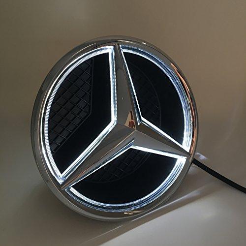 Cszlove Car Front Grilled Star Emblem LED Illuminated Logo Center Front Badge Lamp Light for Mercedes Benz 2015-2017 GLC GLE GLS - White Light