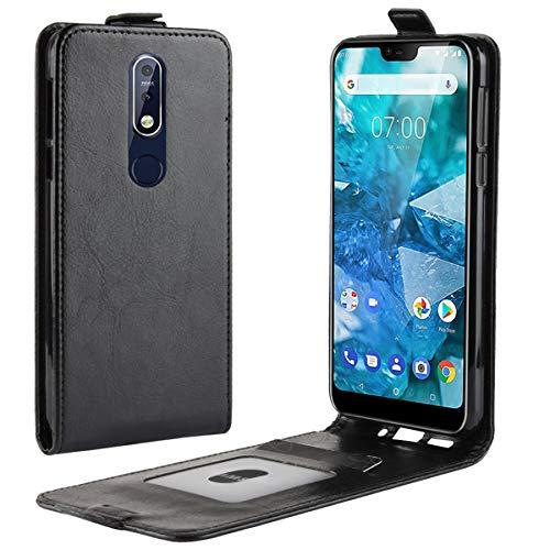 HualuBro Nokia 7.1 Hülle, Leder Brieftasche Etui Tasche Schutzhülle HandyHülle [Magnetic Closure] Leather Wallet Flip Hülle Cover für Nokia 7.1 2018 (Schwarz)