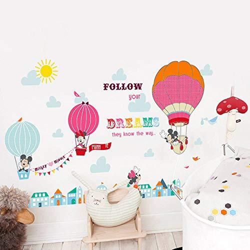 Minnie Mickey Mouse met Hot Air Balloon Muurstickers voor Kleuterschool Kinderkamer Decoratie Cartoon Muurmuurschildering Huisdecoratie