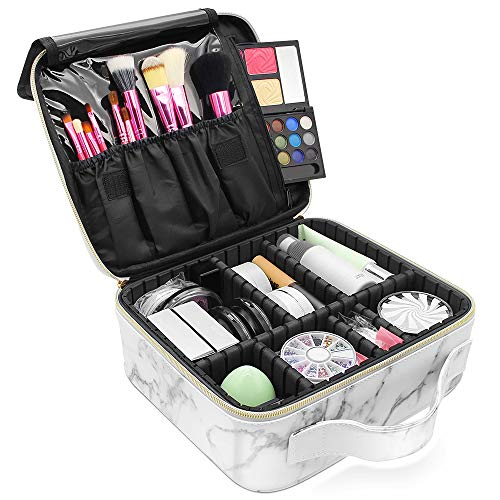 Marble Makeup Organizers and Storage,LKE Cosmetic Bags Waterproof Marble Travel Makeup Train Case Jewelry