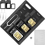 AFUNTA SIM Card Adattatore Supporti per Schede SIM e MicroSD con 2 Punta, 2 Custodie per Sim, Micro Sim, Nano Sim e Scheda di Memoria, con 3 Adattatori e 2 Spillo per Rimuovere