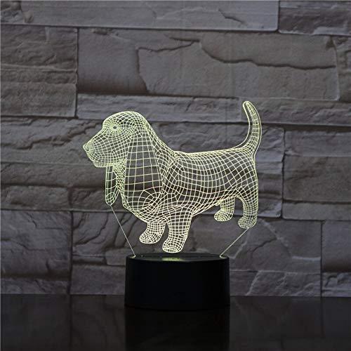 Basset Hound Dog Nachtlicht LED 3D Illusion Farbwechsel Raumdekoration Nachttischlampe Kind Kind Baby Kit Nachttischlampe Hund Kinder Geschenk