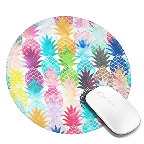 MSGUIDE Vintage Watercolor Pineapple Painting Art Round Mouse Pad, Waterproof Non-Slip Rubber Base Mousepad with Stitched Edge Mouse Mat for Laptop Computer Pc Office, 7.9 x 7.9 x 0.1 Inch