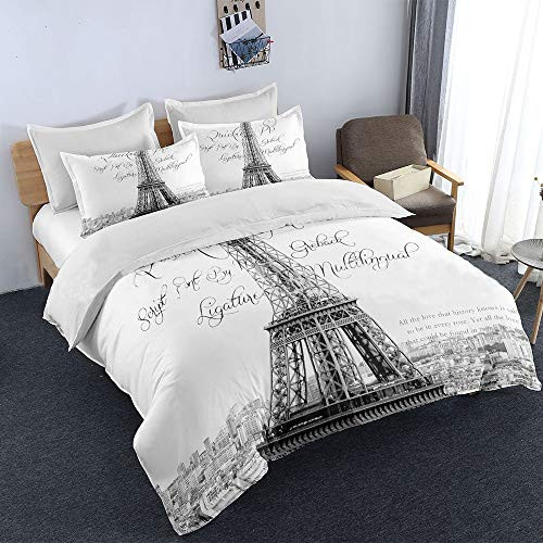 Sisher Paris Eiffel Tower Reversible Duvet Cover Set Grey Digital Print Quilt Cover with 2 Pillowcases Soft Microfiber White Bedding Set Super King Size 230x260cm