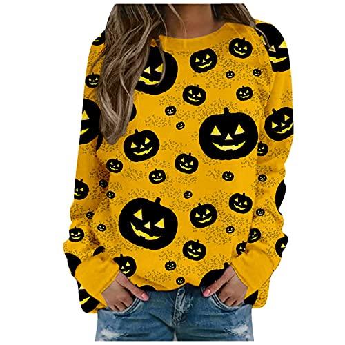 Yesgirl Camiseta de manga larga para mujer, diseño de calavera con calavera de calabaza, con ratón de araña, diseño de calavera, E amarillo., XS