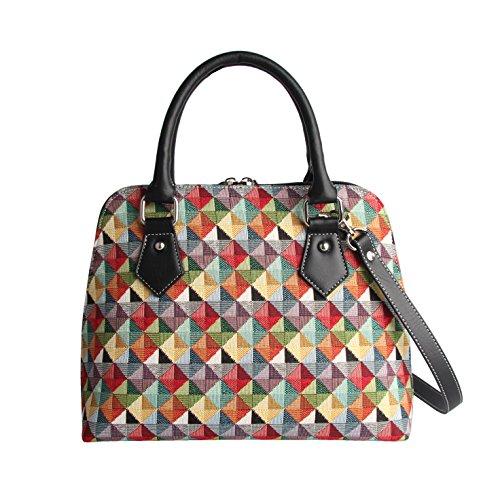 Signare Tapestry Arazzo Top Handle borsa borse donna, borsa donna tracolla con Disegni di Moda (Geometrico colorato)