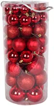 66 Pcs Christmas Tree Shatterproof Balls Decoration Xmas Baubles Ornament Hanging Indoor Pendant Red