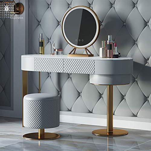 H-ei Italienische Art-Licht-Luxus-Kosmetiktisch Schlafzimmer Schminktisch Speicherschrank, Titan-überzogenes Drahtziehverfahren, mit Make-up-Spiegel und Make-up Hockern (Color : 120cm Dresser Table)
