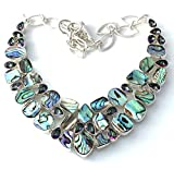 Genuine ABALONE SHELL Natural Gemstones and RAINBOW MYSTIC TOPAZ Crystals, 925 Sterling Silver, Mermaid Handmade Exuberant Necklace.