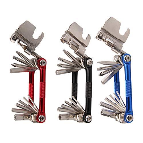Sportmall Herramienta plegable de bicicleta 17 Head 1 Highway Car Mountain Biocket Combinación herramienta de reparación (azul/negro/rojo)