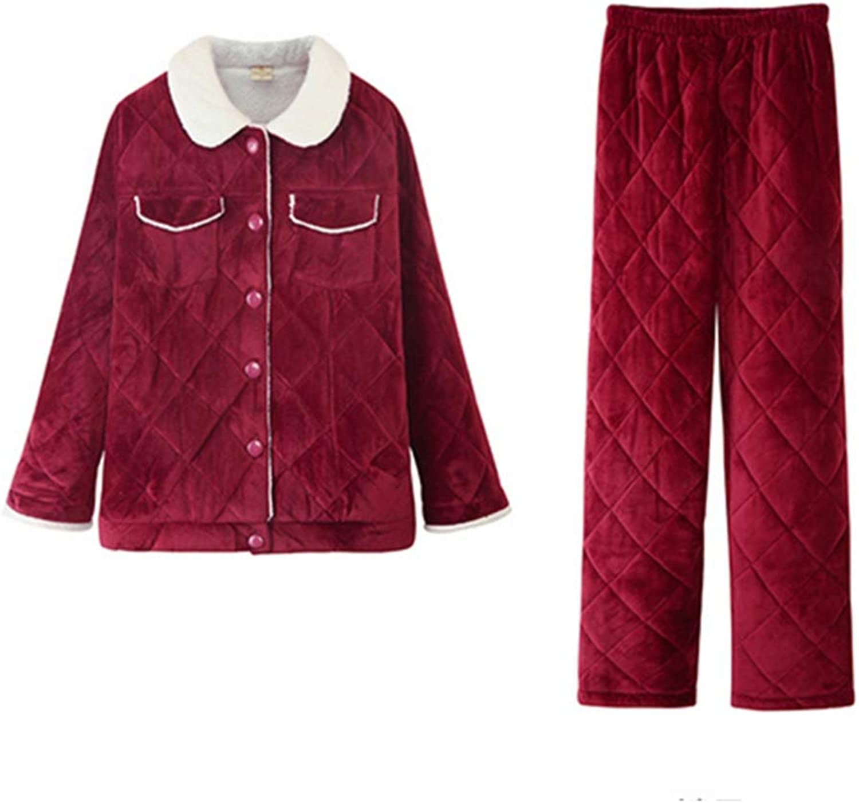 NAN Liang Women  Pajamas  Cotton Pajamas TwoPiece LongSleeved Bathrobe with Classic Lapels, red Soft (Size   170(XL))