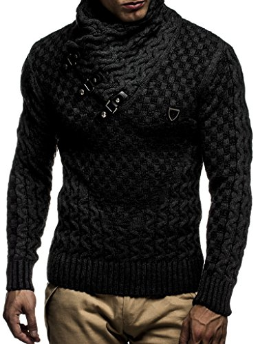 Leif Nelson Men's Knitted Pullover | Long-sleeved slim fit shirt | Basic sweatshirt with shawl collar and faux leather