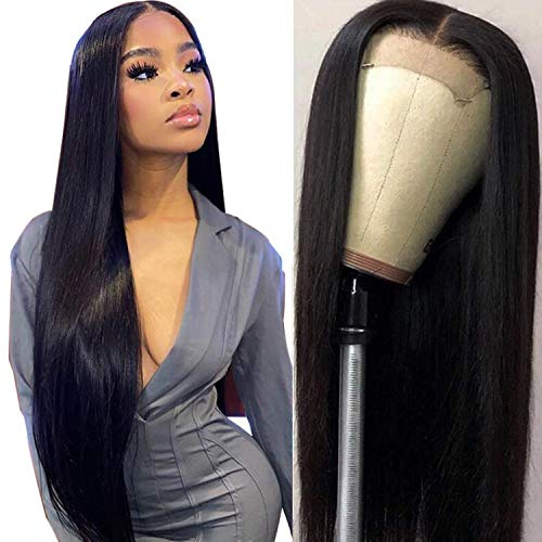 Lace Front Wigs Human Hair Straight Brazilian 4x4 Lace Closure Wigs Pre Plucked Natural Hairline For Black Women(18inch Natural Color)130% Density …