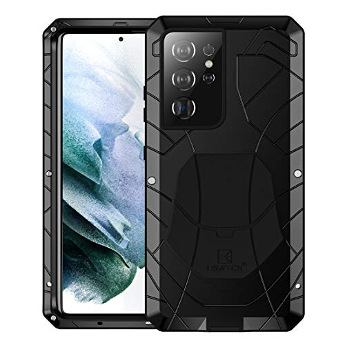 Foluu Galaxy S21 Ultra Case, Galaxy S21 Ultra Metal Phone Case, Aluminum Metal Shockproof Bumper Frame Case Soft Rubber Silicone Military Heavy Duty Hard Case for Samsung Galaxy S21 Ultra 2020 (Black)