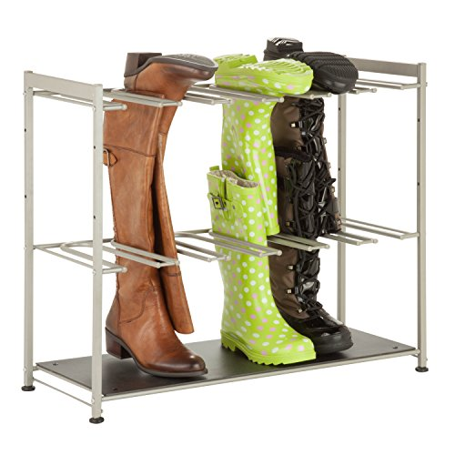 Honey-Can-Do SHO-02812 Steel Frame 6-Pair Boot Rack Organizer