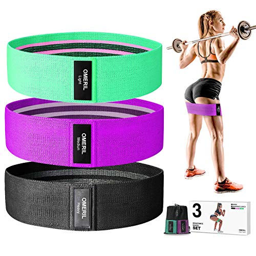 OMERIL Resistance Bands Set 3 Packs Fabric Workout Bands with 3 Resistance Levels NonSlip Exercise Bands Elastic Resistance Loops with Carrying Bag for Legs and Butt Hips amp Glutes