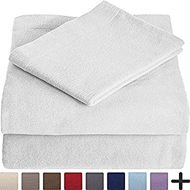100% Cotton Velvet Flannel Sheet Set - Extra Soft Heavyweight - Double Brushed Flannel - Deep Pocket (Full, White)