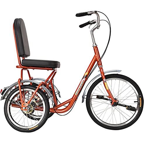 YUKM Erwachsene Liegeräder, Singlespeed Dreiräder Mit Einkaufskorb Und Bequemem Sitz, 3 Räder Cruise Trike Für Senioren Frau Mann,Orange