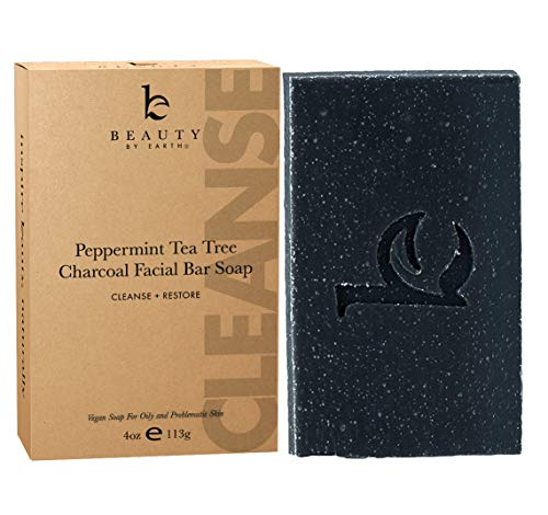 Charcoal Face Wash Bar Soap - Organic Peppermint Tea Tree Antibacterial Soap Bar Facial Cleanser for Oily Skin, Black Soap Face Cleanser, Acne Cleanser, Natural Soap, Acne Face Wash, Women & Mens Face