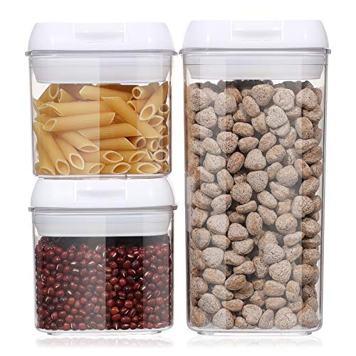 Airtight Food Storage Containers, Aitsite 3 PC BPA Free Sealed Container Clear Case with Easy Lock Lids,Kitchen Pantry Organization Set, Include Labels+Marker+Spoons , 0.5L × 2 PC + 1.2L