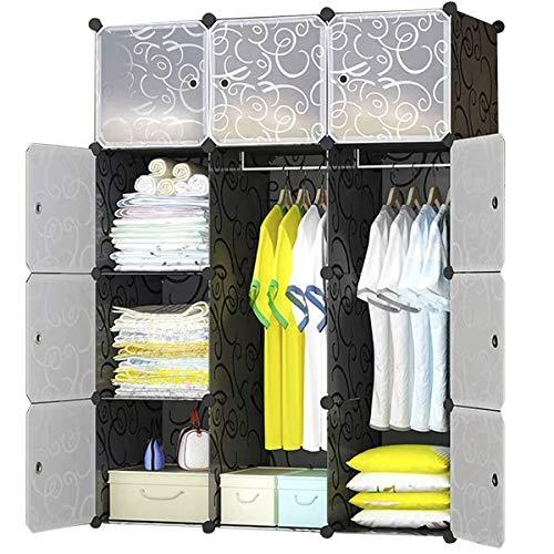 BRIAN & DANY Kleiderschrank aus 12 Würfeln, Garderobenschrank Steckregalsystem Kunststoffschrank mit Türen & 2 Aufhängern, tiefere Fächer als normal (45 cm vs. 35 cm) für mehr Platz