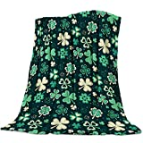 Happy St. Patrick's Day Throw Blankets Lucky Shamrocks Leaves Fuzzy Soft Bed Cover Bedspread Microfiber Luxury Blanket for Travel Stadium Camping Couch Sofa Chair 40x50inch