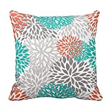 Emvency Throw Pillow Cover Blue Aqua Orange Gray and Floral Anchors Decorative Pillow Case Home Decor Square 20 x 20 Inch Pillowcase