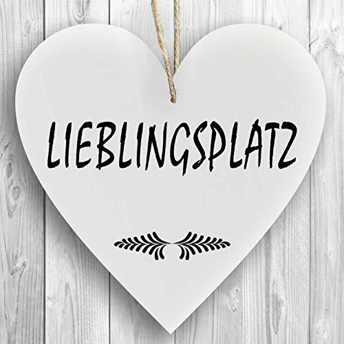 Herzschild Holzherz Holzschild 16 x 16 cm Lieblingsplatz weiß Dekoschild Wandschild Schild Holz Geschenk