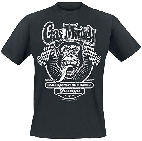 Gas Monkey Garage Flags Männer T-Shirt schwarz 4XL 100% Baumwolle Fan-Merch, Rockabilly, TV-Serien